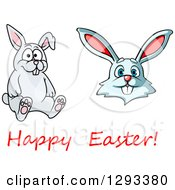 Clipart Of Cartoon Happy Rabbits And Easter Text Royalty Free Vector Illustration