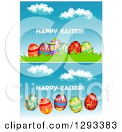 Clipart Of Happy Easter Greetings With Decorated Eggs Over Sky Royalty Free Vector Illustration by Vector Tradition SM