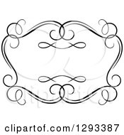 Clipart Of A Black And White Ornate Rectangle Swirl Frame 12 Royalty Free Vector Illustration