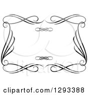 Clipart Of A Black And White Ornate Rectangle Swirl Frame 13 Royalty Free Vector Illustration