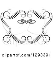 Clipart Of A Black And White Ornate Swirl Frame 2 Royalty Free Vector Illustration