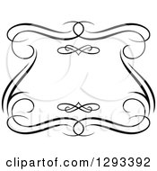 Clipart Of A Black And White Ornate Swirl Frame 3 Royalty Free Vector Illustration