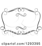 Clipart Of A Black And White Ornate Rectangle Swirl Frame 17 Royalty Free Vector Illustration
