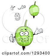 Clipart Of A Face Hands And Gooseberries Royalty Free Vector Illustration