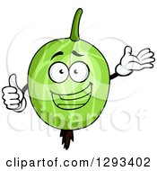 Clipart Of A Happy Gooseberry Character Presenting And Giving A Thumb Up Royalty Free Vector Illustration