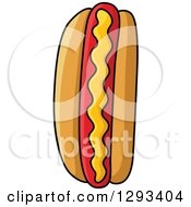 Clipart Of A Cartoon Hot Dog With Mustard Royalty Free Vector Illustration
