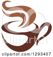 Clipart Of A Two Toned Brown And White Steamy Coffee Cup 6 Royalty Free Vector Illustration