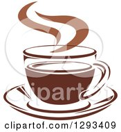 Clipart Of A Two Toned Brown And White Steamy Coffee Cup On A Saucer 33 Royalty Free Vector Illustration