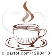 Clipart Of A Two Toned Brown And White Steamy Coffee Cup On A Saucer 34 Royalty Free Vector Illustration