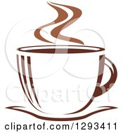 Clipart Of A Two Toned Brown And White Steamy Coffee Cup On A Saucer 32 Royalty Free Vector Illustration