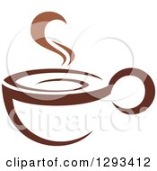 Clipart Of A Two Toned Brown And White Steamy Coffee Cup 9 Royalty Free Vector Illustration