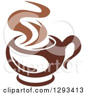 Clipart Of A Two Toned Brown And White Steamy Coffee Cup 10 Royalty Free Vector Illustration
