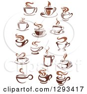 Clipart Of Two Toned Brown And White Steamy Coffee Cups 2 Royalty Free Vector Illustration