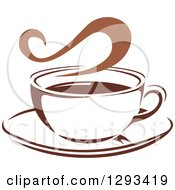 Clipart Of A Two Toned Brown And White Steamy Coffee Cup On A Saucer 36 Royalty Free Vector Illustration