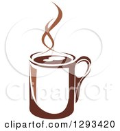 Clipart Of A Two Toned Brown And White Steamy Coffee Cup 8 Royalty Free Vector Illustration