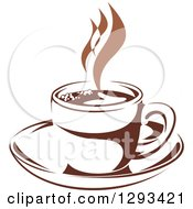 Clipart Of A Two Toned Brown And White Steamy Coffee Cup On A Saucer 37 Royalty Free Vector Illustration