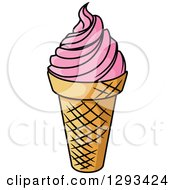 Clipart Of A Cartoon Ice Cream Cone With Strawberry Frozen Yogurt Royalty Free Vector Illustration by Vector Tradition SM