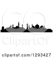 Clipart Of A Black Silhouetted Islamic City Skyline 2 Royalty Free Vector Illustration by Vector Tradition SM