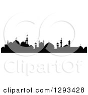 Clipart Of A Black Silhouetted Islamic City Skyline 3 Royalty Free Vector Illustration