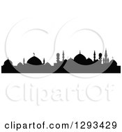 Clipart Of A Black Silhouetted Islamic City Skyline 4 Royalty Free Vector Illustration