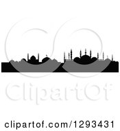 Clipart Of A Black Silhouetted Islamic City Skyline 6 Royalty Free Vector Illustration