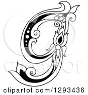 Clipart Of A Black And White Vintage Lowercase Floral Letter G Royalty Free Vector Illustration