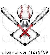 Clipart Of A White And Red Baseball And Crossed Bats Over A Diamond Royalty Free Vector Illustration by Vector Tradition SM