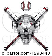 Clipart Of A White And Red Baseball And Crossed Bats With A Catchers Mask Royalty Free Vector Illustration by Vector Tradition SM
