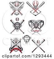 Clipart Of Baseball Crossed Bats And A Catchers Masks Royalty Free Vector Illustration