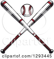 Clipart Of A White And Red Baseball And Crossed Bats Royalty Free Vector Illustration by Vector Tradition SM