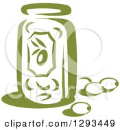 Clipart Of A Green Jar And Olives Royalty Free Vector Illustration