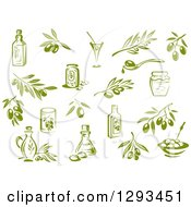 Clipart Of Green Olives Branches Oil And Jars Royalty Free Vector Illustration