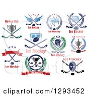 Clipart Of Ice Hockey Sports Designs With Text 3 Royalty Free Vector Illustration