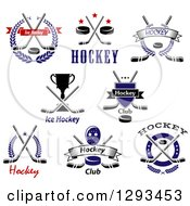 Clipart Of Ice Hockey Sports Designs With Text 2 Royalty Free Vector Illustration