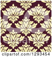 Seamless Pattern Background Of Pastel Yellow Damask On Brown