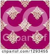 Seamless Pattern Background Of Pastel Yellow Damask On Pink