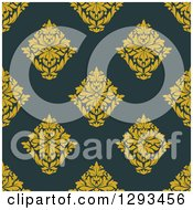 Clipart Of A Seamless Pattern Background Of Yellow Damask On Dark Blue Royalty Free Vector Illustration by Vector Tradition SM