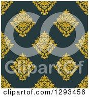 Seamless Pattern Background Of Yellow Damask On Dark Blue