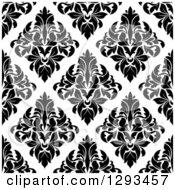 Seamless Pattern Background Of Black Diamond Shaped Damask On White