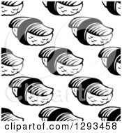Clipart Of A Seamless Pattern Background Of Black And White Sushi Royalty Free Vector Illustration