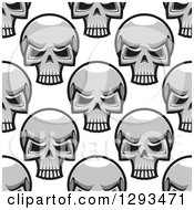 Poster, Art Print Of Seamless Pattern Background Of Grayscale Monster Skulls
