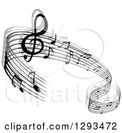 Clipart Of A Grayscale Flowing Music Note Wave Design 4 Royalty Free Vector Illustration