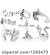 Clipart Of Grayscale Flowing Music Note Wave Designs 4 Royalty Free Vector Illustration