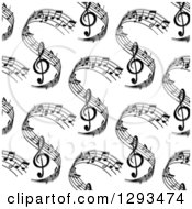 Clipart Of A Seamless Background Pattern Of Grayscale Sheet Music Waves Royalty Free Vector Illustration