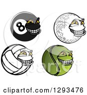 Clipart Of Grinning Billiards Eightball Golf Ball Volleyball And Tennis Ball Characters Royalty Free Vector Illustration