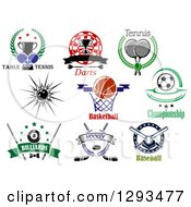 Clipart Of Ping Pong Darts Basketball Bowling Soccer Billiards And Ice Hockey Sports Designs With Text Royalty Free Vector Illustration