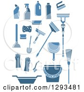 Clipart Of Blue Janitorial And Cleaning Items Royalty Free Vector Illustration
