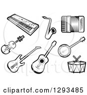 Clipart Of A Black And White Keyboard Saxophone Accordion Violin Guitars Banjo And Drums Royalty Free Vector Illustration