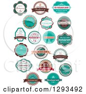 Retro Peach White Brown And Turquoise Restaurant Label Designs With Sample Text