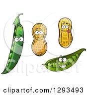 Clipart Of Pea Pod And Peanut Characters Royalty Free Vector Illustration